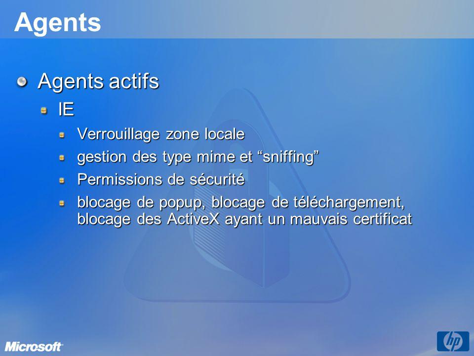 Agents Agents actifs IE Verrouillage zone locale gestion des type mime et sniffing Permissions de sécurité blocage de popup, blocage de téléchargement, blocage des ActiveX ayant un mauvais certificat
