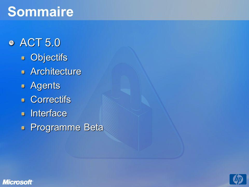 Sommaire ACT 5.0 ObjectifsArchitectureAgentsCorrectifsInterface Programme Beta