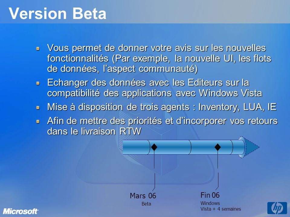 Version Beta Vous permet de donner votre avis sur les nouvelles fonctionnalités (Par exemple, la nouvelle UI, les flots de données, l'aspect communauté) Echanger des données avec les Editeurs sur la compatibilité des applications avec Windows Vista Mise à disposition de trois agents : Inventory, LUA, IE Afin de mettre des priorités et d'incorporer vos retours dans le livraison RTW 06 Mars Fin Windows Vista+4 semaines Beta