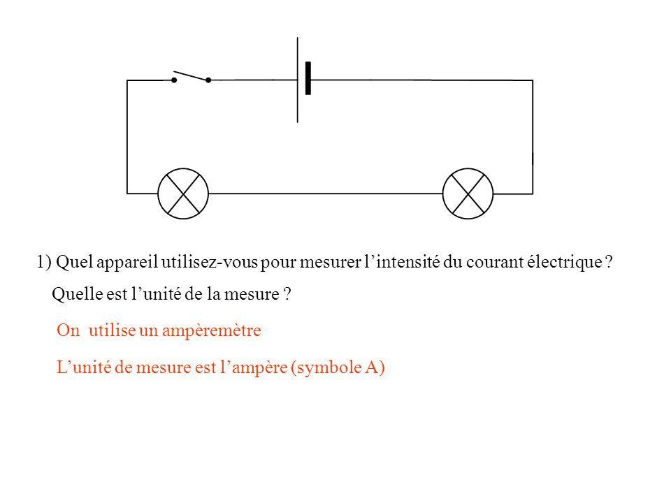 1) Quel appareil utilisez-vous pour mesurer l'intensité du courant électrique ? On utilise un ampèremètre Quelle est l'unité de la mesure ? L'unité de