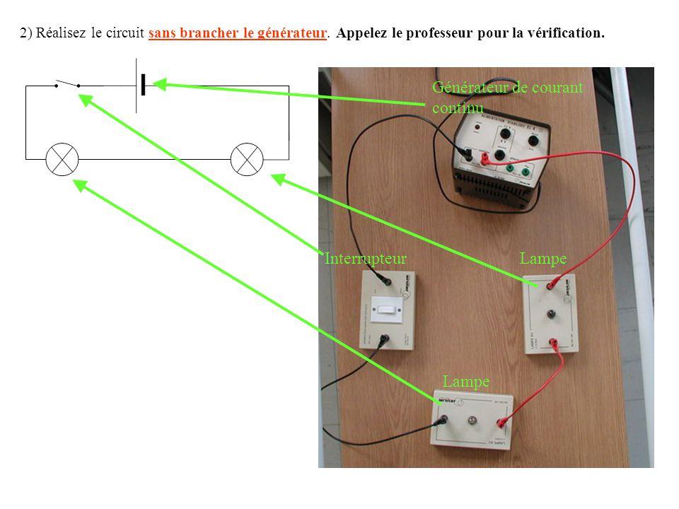 2) Réalisez le circuit sans brancher le générateur.