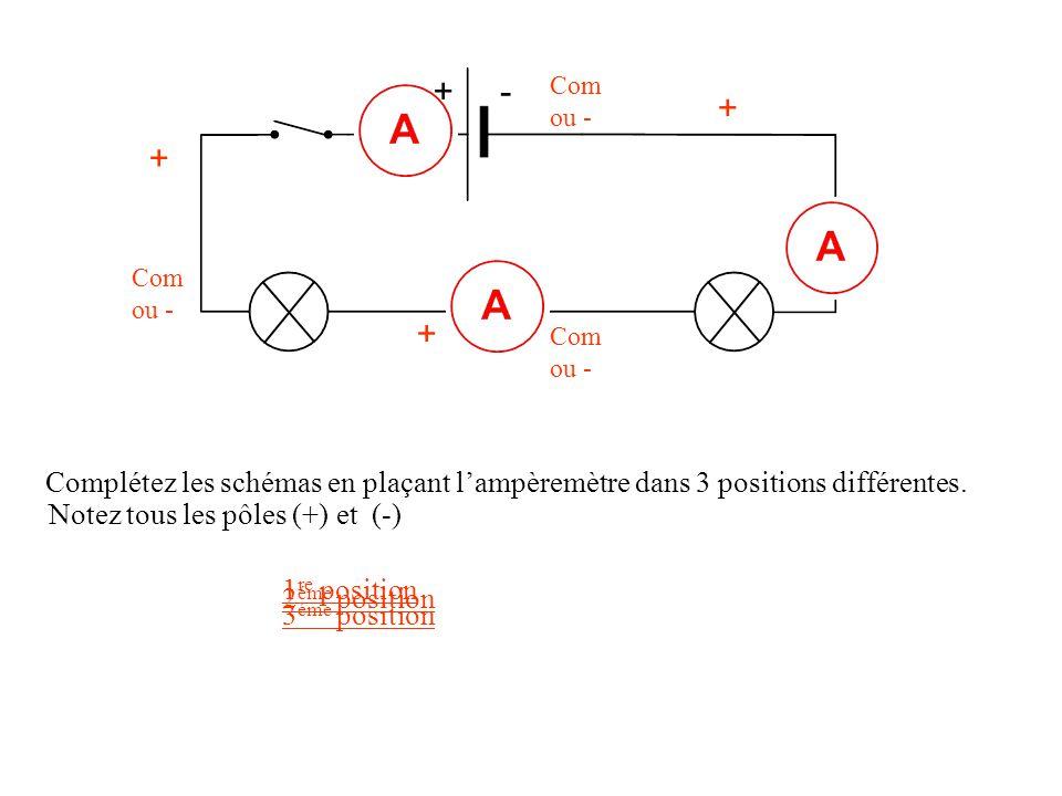+- + Com ou - + + Complétez les schémas en plaçant l'ampèremètre dans 3 positions différentes. 1 re position 2 éme position 3 éme position Notez tous