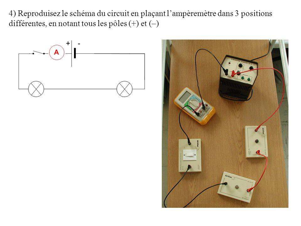 4) Reproduisez le schéma du circuit en plaçant l'ampèremètre dans 3 positions différentes, en notant tous les pôles (+) et (–) +-