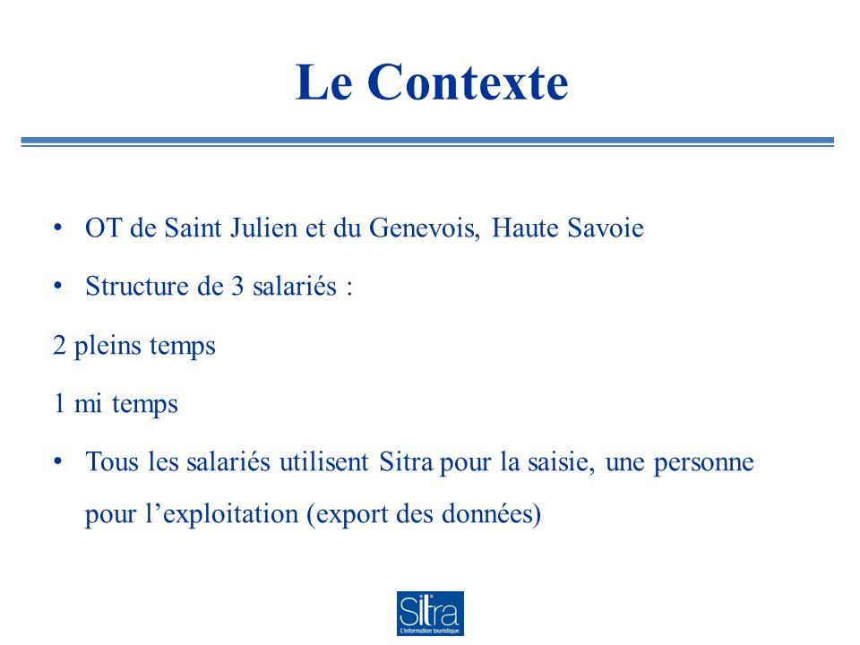 Le Contexte OT de Saint Julien et du Genevois, Haute Savoie Structure de 3 salariés : 2 pleins temps 1 mi temps Tous les salariés utilisent Sitra pour la saisie, une personne pour l'exploitation (export des données)
