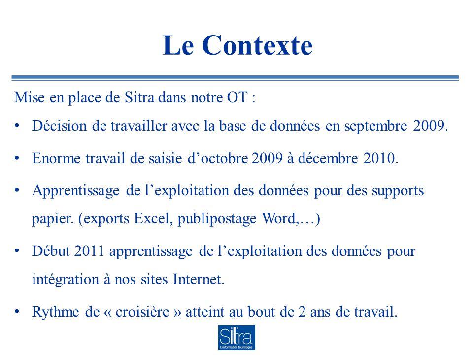 Le Contexte Mise en place de Sitra dans notre OT : Décision de travailler avec la base de données en septembre 2009.
