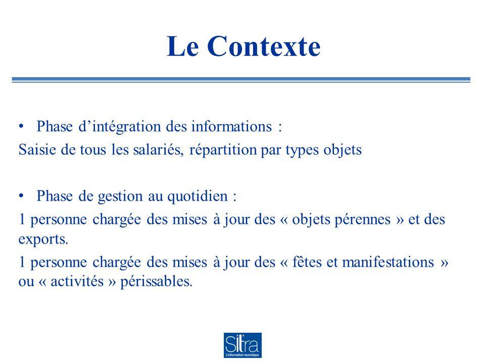 Le Contexte Phase d'intégration des informations : Saisie de tous les salariés, répartition par types objets Phase de gestion au quotidien : 1 personne chargée des mises à jour des « objets pérennes » et des exports.