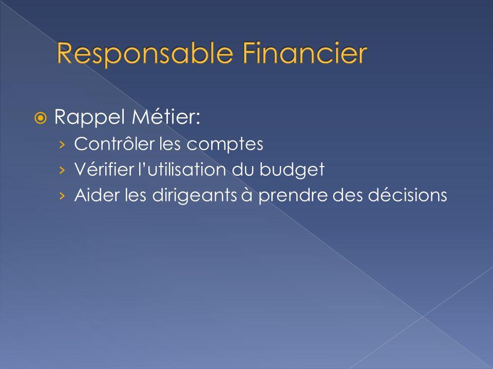  Rappel Métier: › Contrôler les comptes › Vérifier l'utilisation du budget › Aider les dirigeants à prendre des décisions