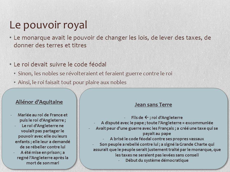 Le pouvoir royal Le monarque avait le pouvoir de changer les lois, de lever des taxes, de donner des terres et titres Le roi devait suivre le code féo