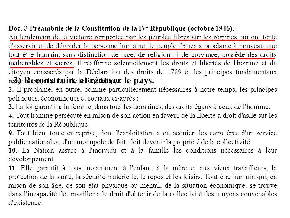 Doc. 3 Préambule de la Constitution de la IV e République (octobre 1946). Au lendemain de la victoire remportée par les peuples libres sur les régimes