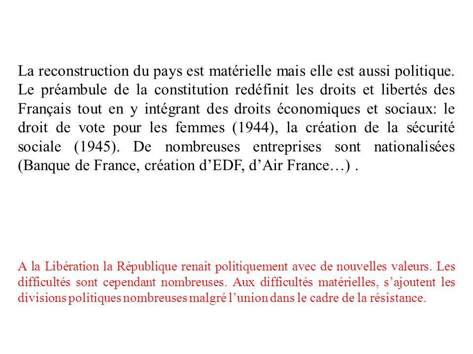 La reconstruction du pays est matérielle mais elle est aussi politique. Le préambule de la constitution redéfinit les droits et libertés des Français