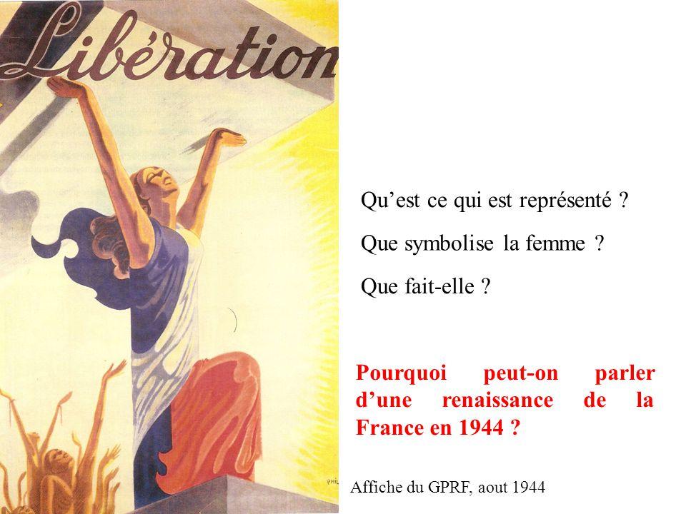 Qu'est ce qui est représenté ? Que symbolise la femme ? Que fait-elle ? Pourquoi peut-on parler d'une renaissance de la France en 1944 ? Affiche du GP