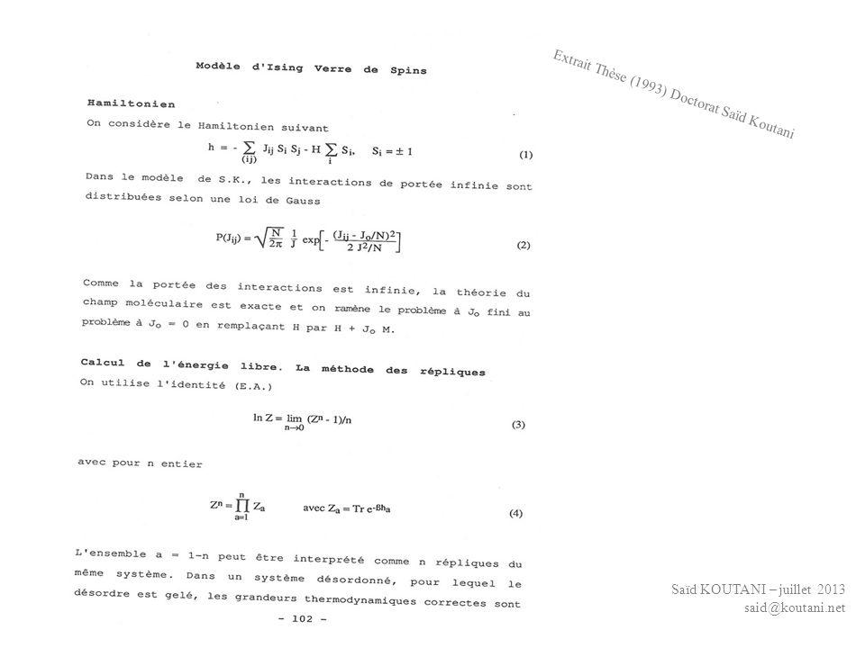 Extrait Thèse (1993) Doctorat Saïd Koutani Saïd KOUTANI – juillet 2013 said@koutani.net