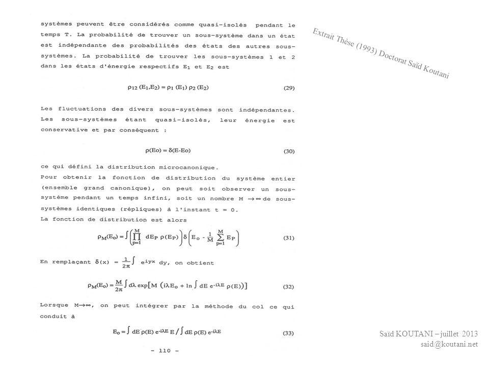 Saïd KOUTANI – juillet 2013 said@koutani.net Extrait Thèse (1993) Doctorat Saïd Koutani