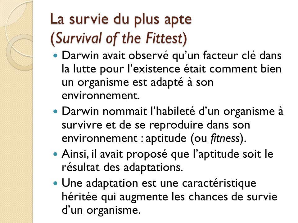 La survie du plus apte (Survival of the Fittest) Darwin avait observé qu'un facteur clé dans la lutte pour l'existence était comment bien un organisme