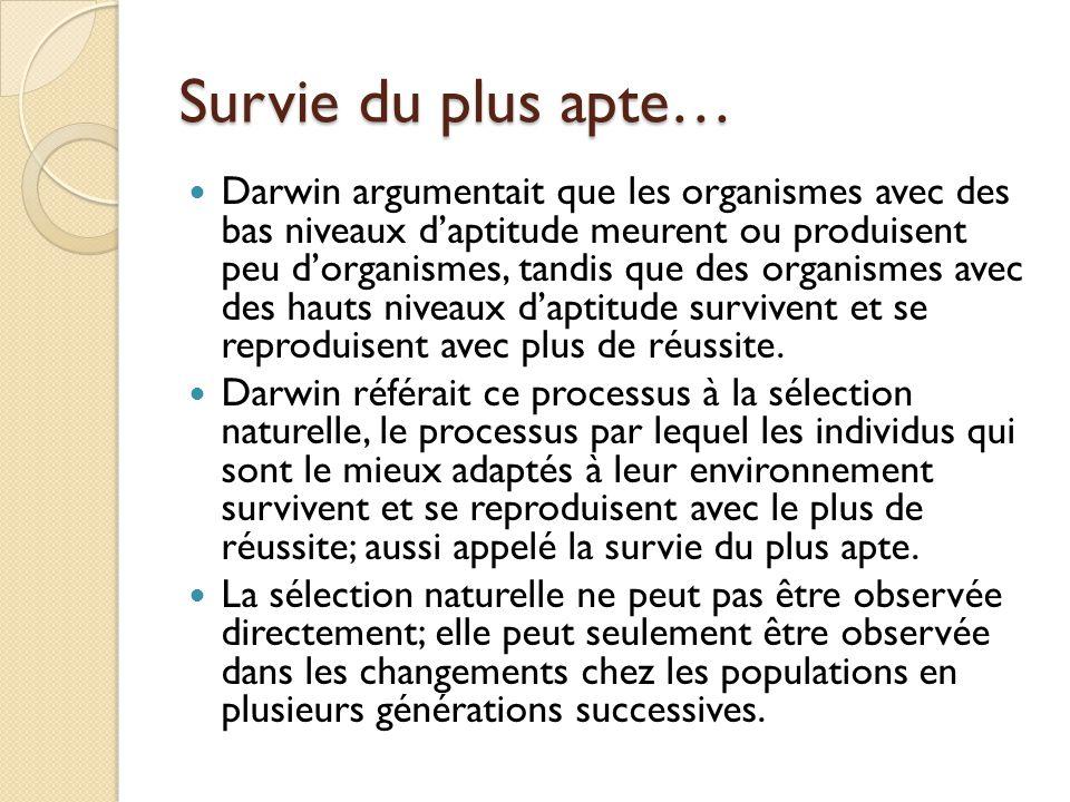 Survie du plus apte… Darwin argumentait que les organismes avec des bas niveaux d'aptitude meurent ou produisent peu d'organismes, tandis que des orga