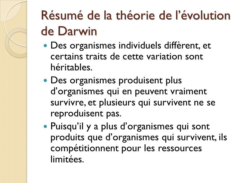 Résumé de la théorie de l'évolution de Darwin Des organismes individuels diffèrent, et certains traits de cette variation sont héritables. Des organis