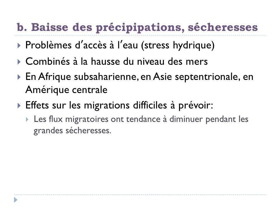 b. Baisse des précipipations, sécheresses  Problèmes d'accès à l'eau (stress hydrique)  Combinés à la hausse du niveau des mers  En Afrique subsaha