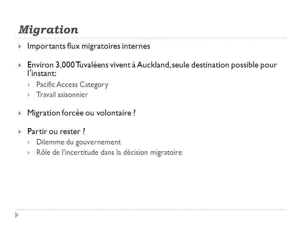 Migration  Importants flux migratoires internes  Environ 3,000 Tuvaléens vivent à Auckland, seule destination possible pour l'instant:  Pacific Access Category  Travail saisonnier  Migration forcée ou volontaire .