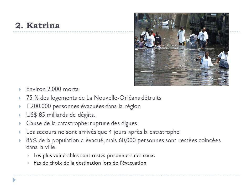 2. Katrina  Environ 2,000 morts  75 % des logements de La Nouvelle-Orléans détruits  1,200,000 personnes évacuées dans la région  US$ 85 milliards