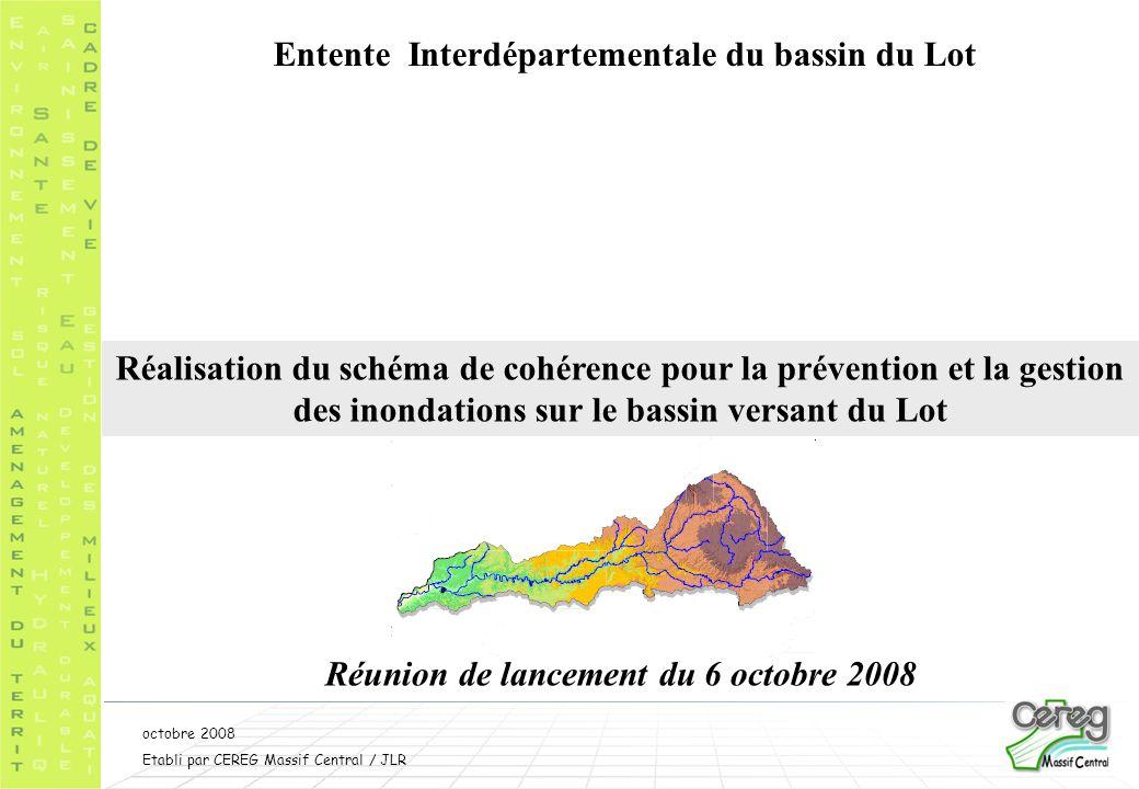 Septembre 2008 Etabli par CEREG Massif Central/ JLR;PDe 3 Mesures non structurelles Mesures structurelles Fiches programmes et coûts estimatifs Propositions pour réduire les risques et mieux gérer les crises Phase 3 : elaboration du schema