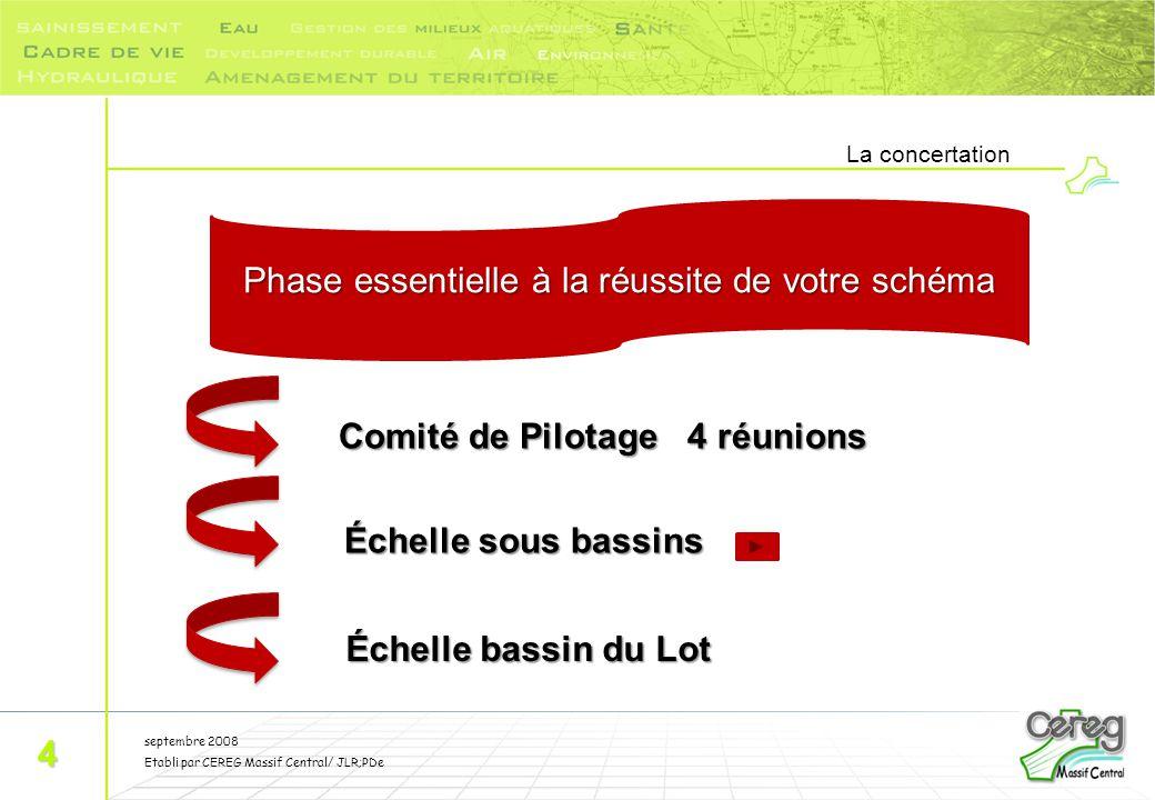 septembre 2008 Etabli par CEREG Massif Central/ JLR;PDe La concertation 4 Phase essentielle à la réussite de votre schéma Comité de Pilotage 4 réunion
