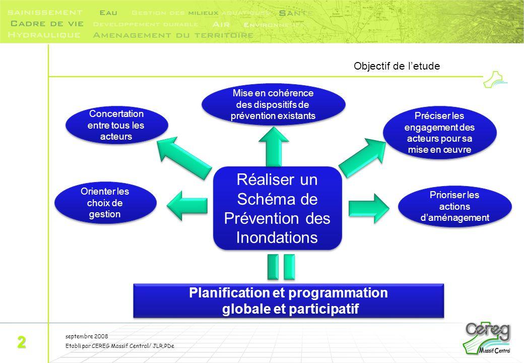 septembre 2008 Etabli par CEREG Massif Central/ JLR;PDe Objectif de l'etude 2 Réaliser un Schéma de Prévention des Inondations Concertation entre tous