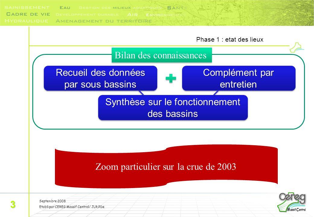 Septembre 2008 Etabli par CEREG Massif Central/ JLR;PDe Phase 1 : etat des lieux 3 Recueil des données par sous bassins Complément par entretien Synth