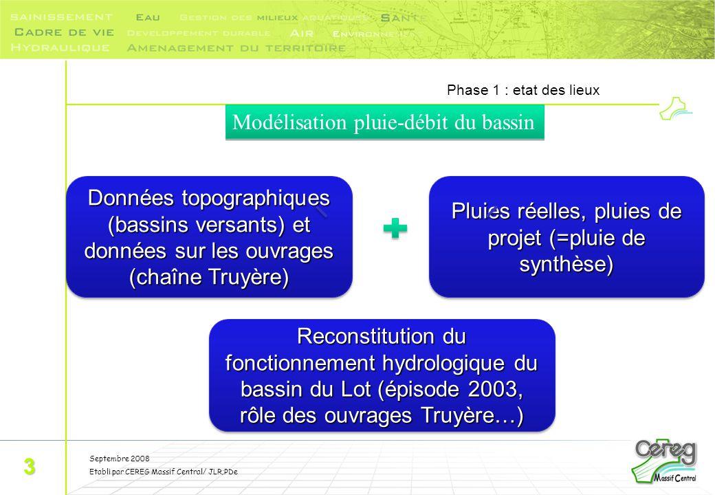 Septembre 2008 Etabli par CEREG Massif Central/ JLR;PDe Phase 1 : etat des lieux 3 Données topographiques (bassins versants) et données sur les ouvrag