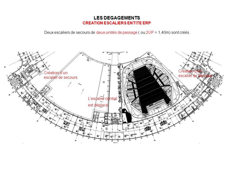 LES DEGAGEMENTS CREATION ESCALIERS ENTITE ERP Deux escaliers de secours de deux unités de passage ( ou 2UP = 1,40m) sont créés. L'escalier central est