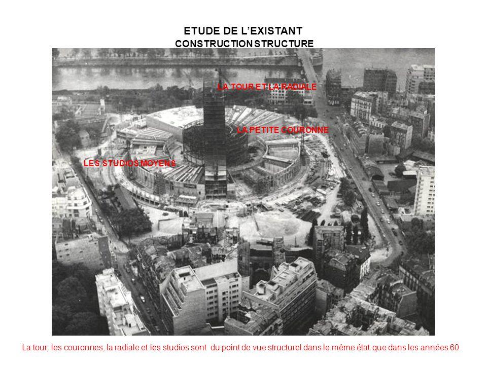 La tour, les couronnes, la radiale et les studios sont du point de vue structurel dans le même état que dans les années 60. LA TOUR ET LA RADIALE LA P