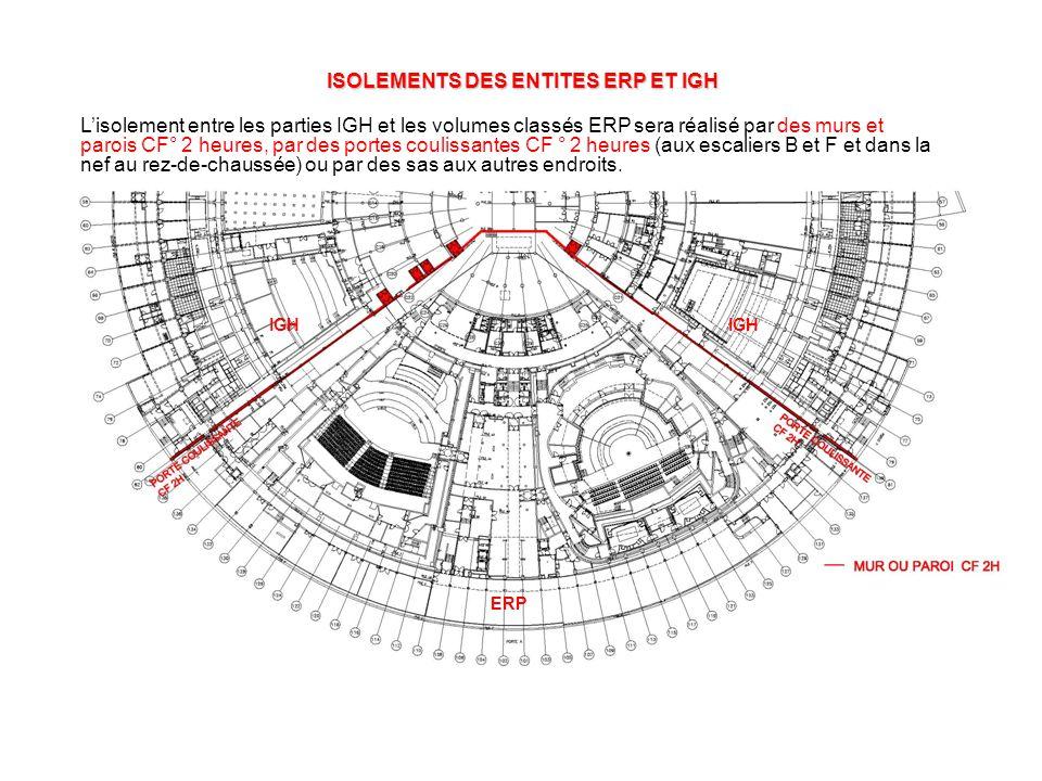 ISOLEMENTS DES ENTITES ERP ET IGH IGH ERP L'isolement entre les parties IGH et les volumes classés ERP sera réalisé par des murs et parois CF° 2 heures, par des portes coulissantes CF ° 2 heures (aux escaliers B et F et dans la nef au rez-de-chaussée) ou par des sas aux autres endroits.