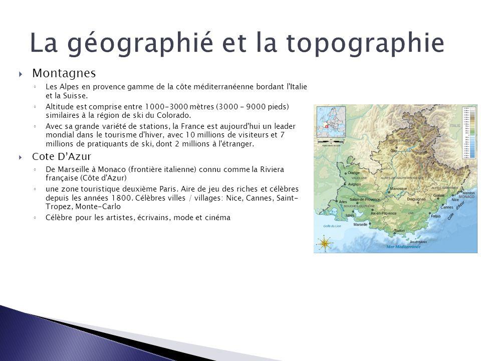  Population de la région Provence: ~ 5M ◦ Marseille: ~ 900k est la deuxième plus grande ville de France et le plus grand port d Europe ◦ Nice & Cannes: ~ 450k grandes villes de Côte d Azur.
