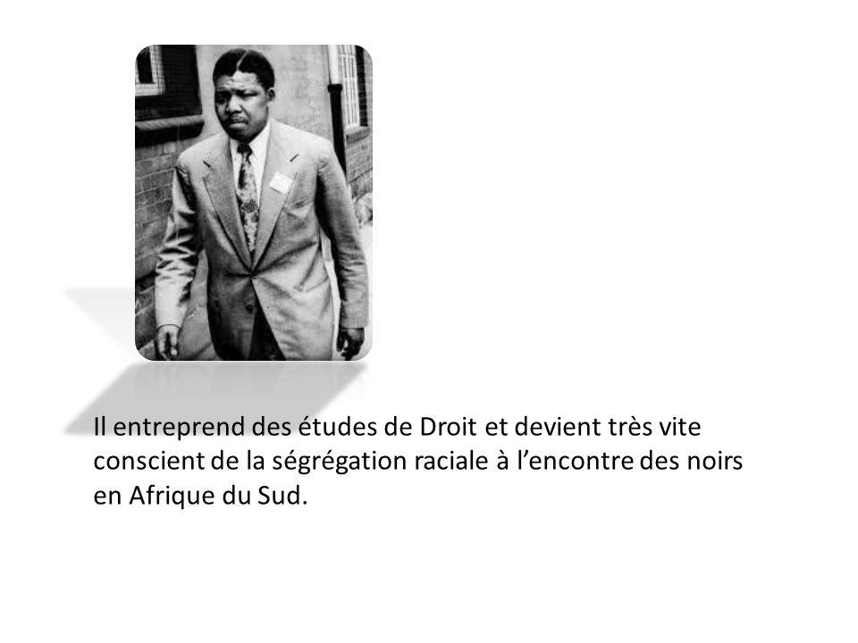 Il entreprend des études de Droit et devient très vite conscient de la ségrégation raciale à l'encontre des noirs en Afrique du Sud.