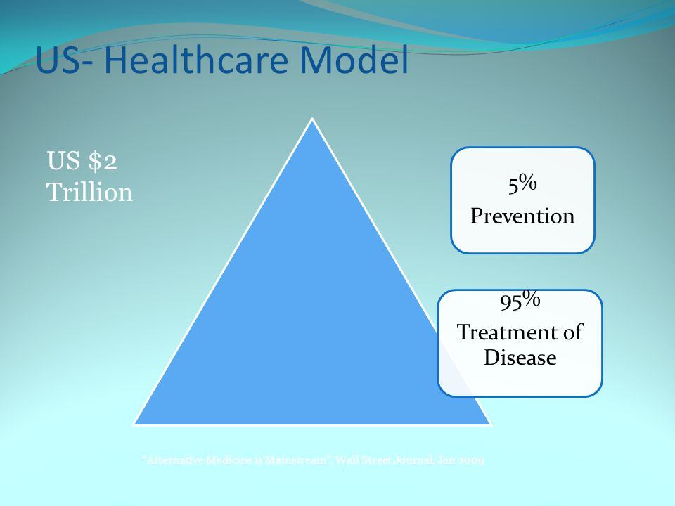 US- Healthcare Model Alternative Medicine is Mainstream , Wall Street Journal, Jan 2009 US $2 Trillion