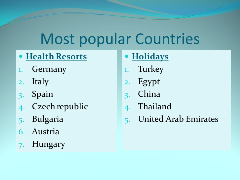Most popular Countries Health Resorts 1.Germany 2.