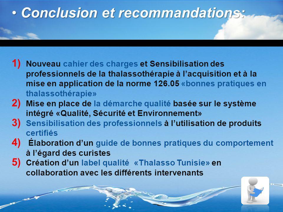 Conclusion et recommandations: Conclusion et recommandations: 1) Nouveau cahier des charges et Sensibilisation des professionnels de la thalassothérap