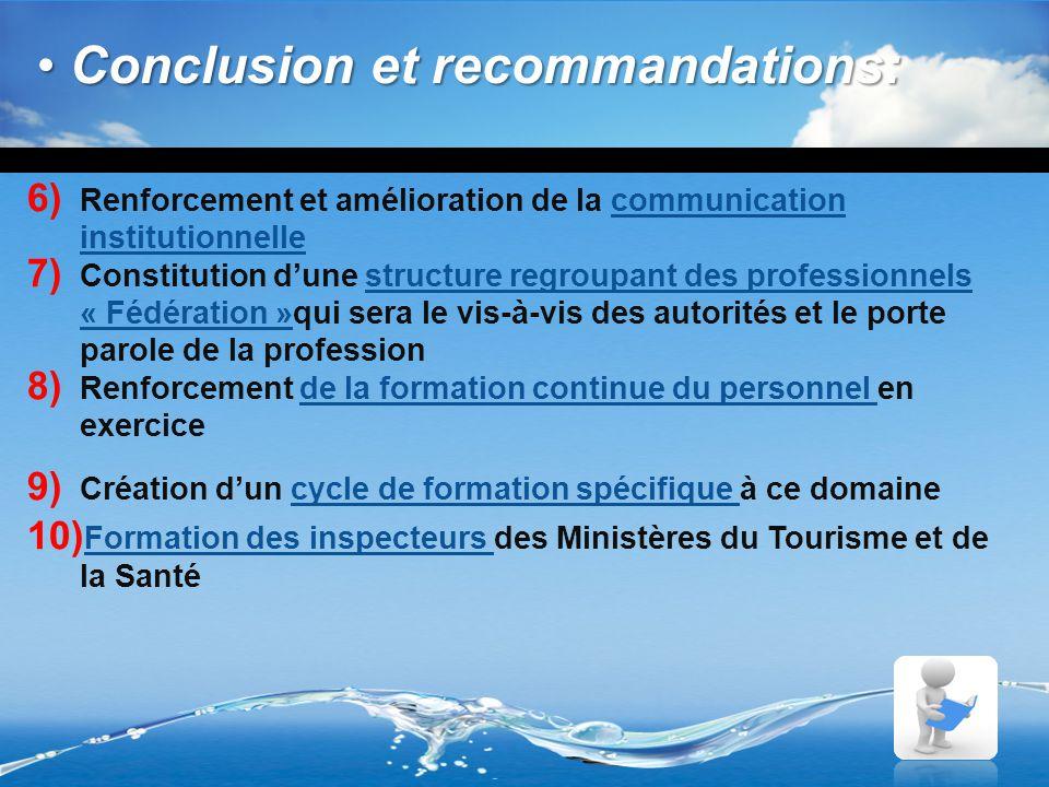 6) Renforcement et amélioration de la communication institutionnelle 7) Constitution d'une structure regroupant des professionnels « Fédération »qui s