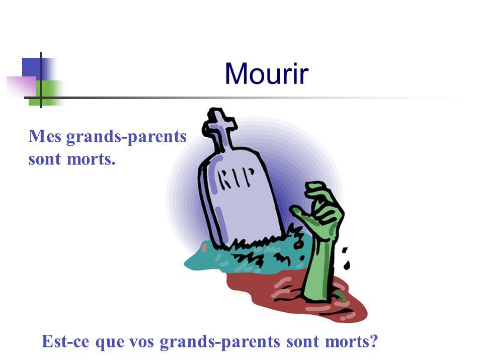 Mourir Mes grands-parents sont morts. Est-ce que vos grands-parents sont morts?