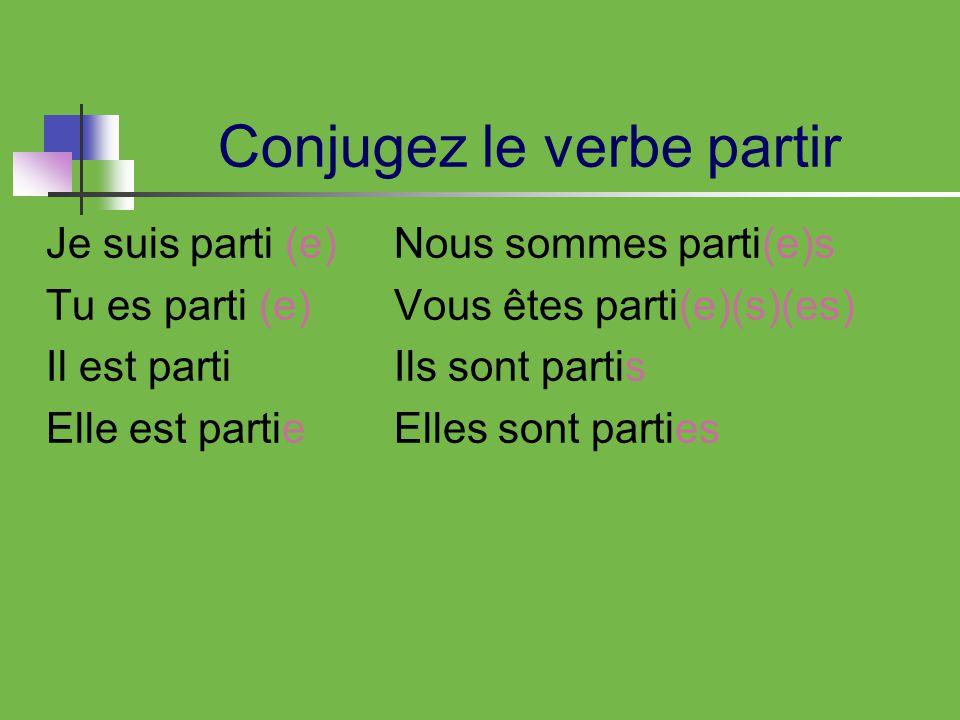 Conjugez le verbe partir Je suis parti (e) Tu es parti (e) Il est parti Elle est partie Nous sommes parti(e)s Vous êtes parti(e)(s)(es) Ils sont partis Elles sont parties