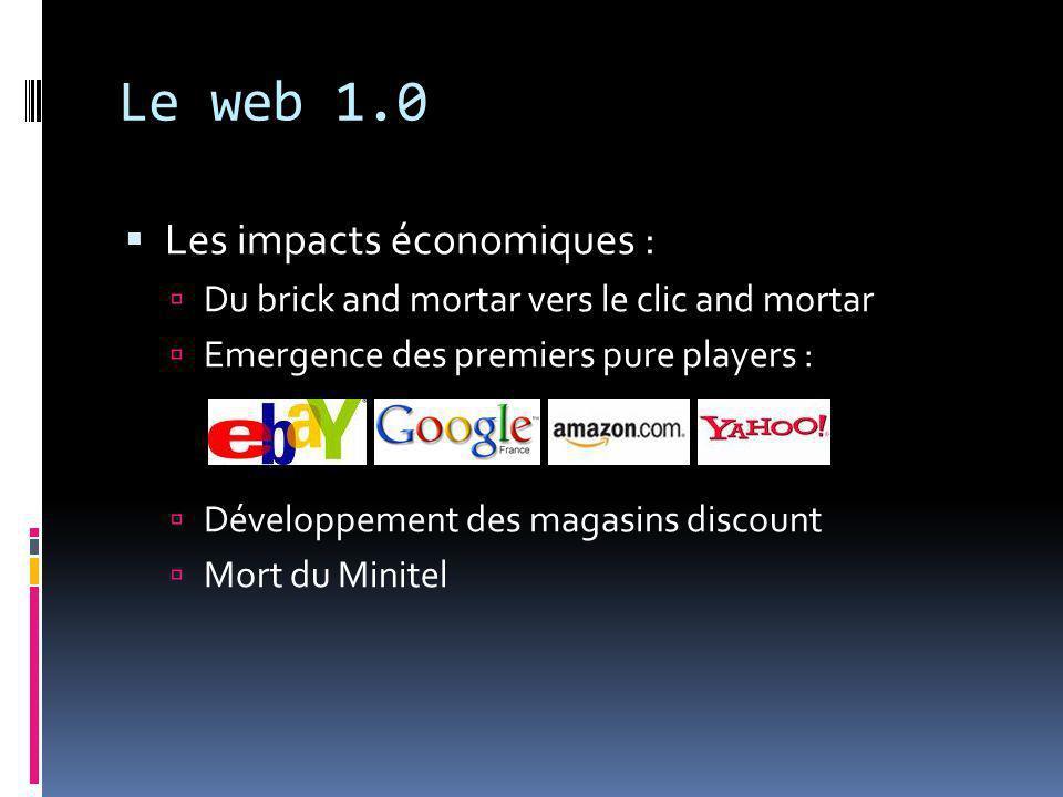 Le web 1.0  Les impacts économiques :  Du brick and mortar vers le clic and mortar  Emergence des premiers pure players :  Développement des magasins discount  Mort du Minitel