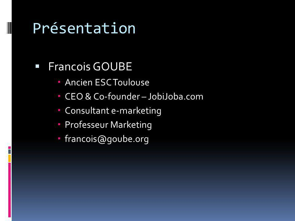 Présentation  Francois GOUBE  Ancien ESC Toulouse  CEO & Co-founder – JobiJoba.com  Consultant e-marketing  Professeur Marketing  francois@goube