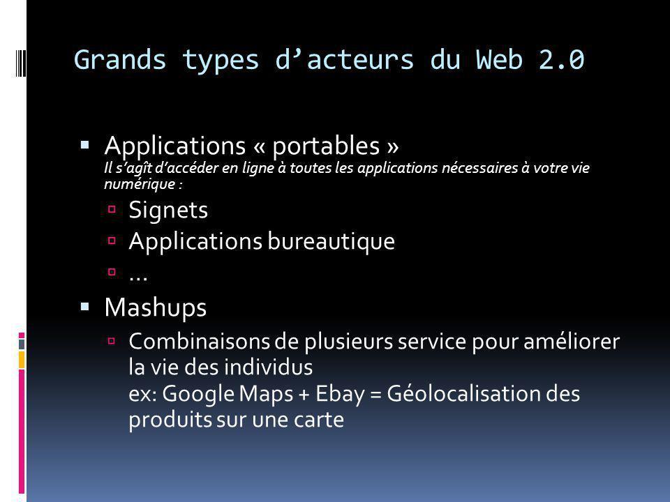 Grands types d'acteurs du Web 2.0  Applications « portables » Il s'agît d'accéder en ligne à toutes les applications nécessaires à votre vie numérique :  Signets  Applications bureautique  …  Mashups  Combinaisons de plusieurs service pour améliorer la vie des individus ex: Google Maps + Ebay = Géolocalisation des produits sur une carte
