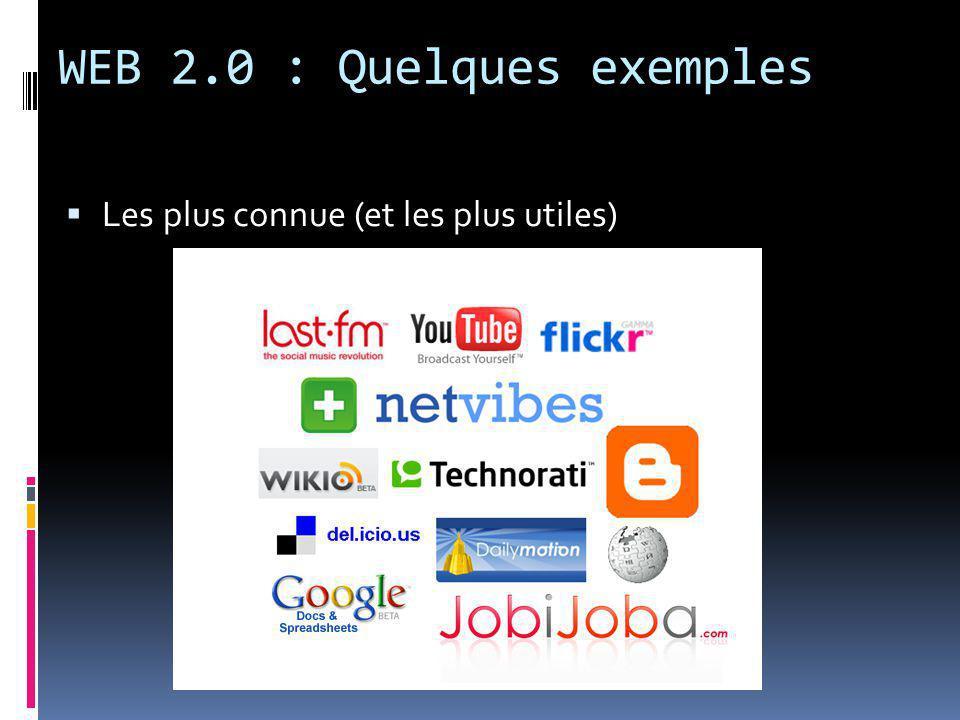 WEB 2.0 : Quelques exemples  Les plus connue (et les plus utiles)
