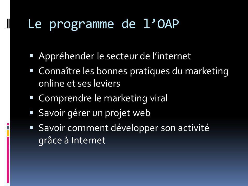 Le programme de l'OAP  Appréhender le secteur de l'internet  Connaître les bonnes pratiques du marketing online et ses leviers  Comprendre le marketing viral  Savoir gérer un projet web  Savoir comment développer son activité grâce à Internet