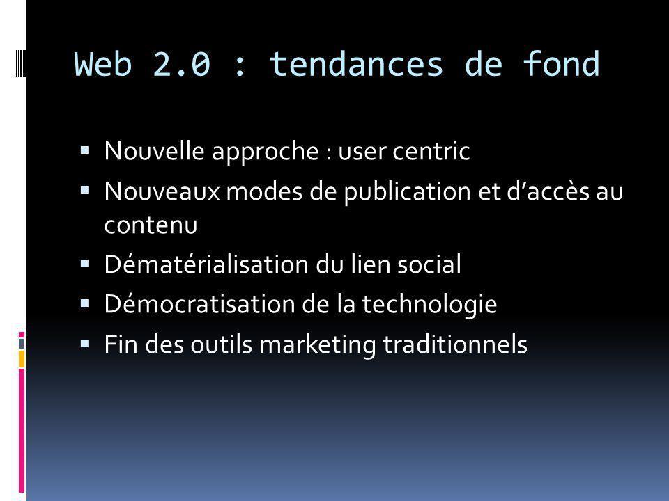 Web 2.0 : tendances de fond  Nouvelle approche : user centric  Nouveaux modes de publication et d'accès au contenu  Dématérialisation du lien social  Démocratisation de la technologie  Fin des outils marketing traditionnels