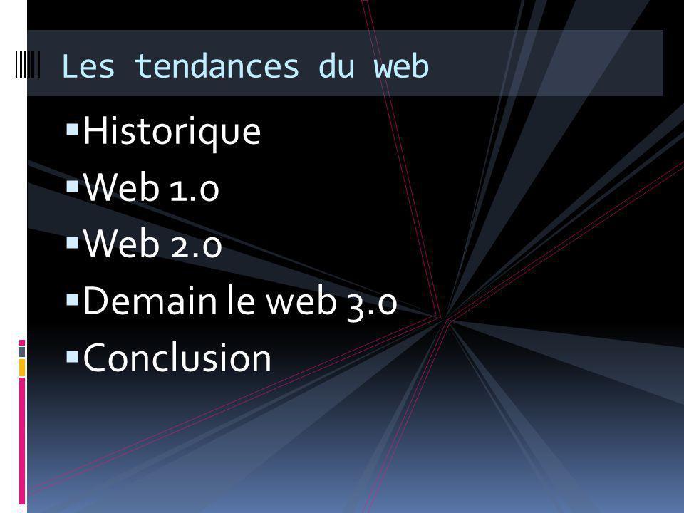 Le web 1.0  Les composants du web 1.0  Course au contenu  Centralisation de l'information  Course à l'accès à l'information  Les individus sont connectés individuellement à leurs sites favoris  Démocratisation de l'email
