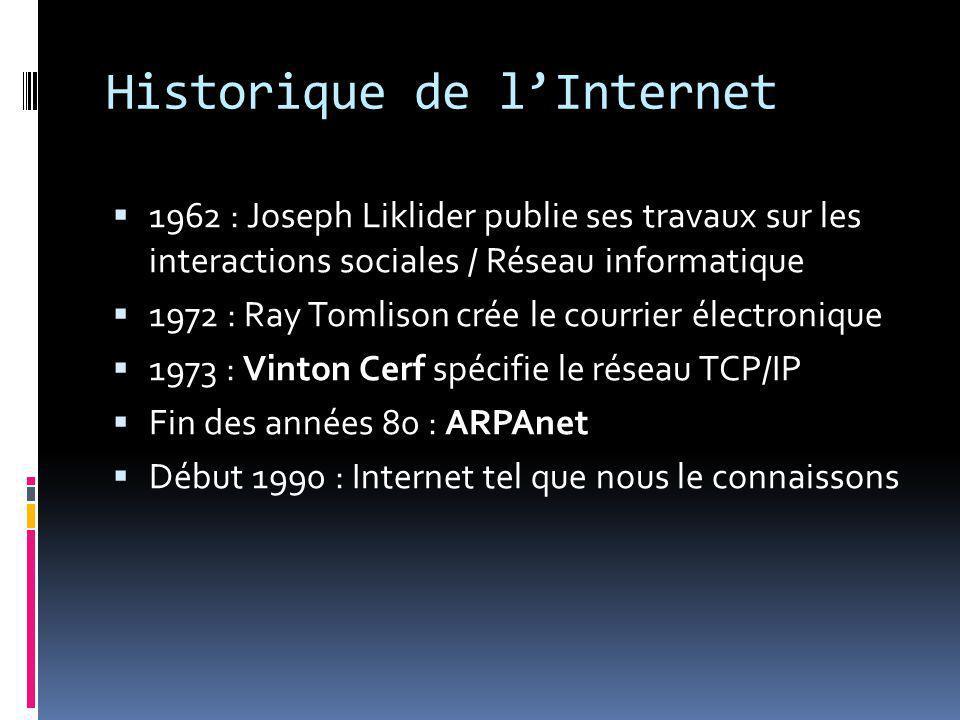 Historique de l'Internet  1962 : Joseph Liklider publie ses travaux sur les interactions sociales / Réseau informatique  1972 : Ray Tomlison crée le courrier électronique  1973 : Vinton Cerf spécifie le réseau TCP/IP  Fin des années 80 : ARPAnet  Début 1990 : Internet tel que nous le connaissons