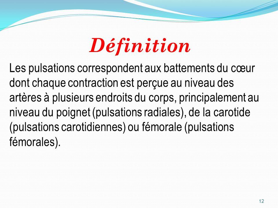 Définition 12 Les pulsations correspondent aux battements du cœur dont chaque contraction est perçue au niveau des artères à plusieurs endroits du cor