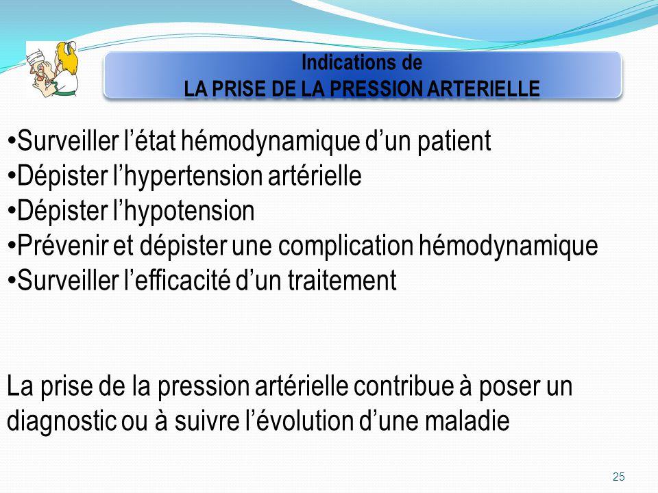 25 Indications de LA PRISE DE LA PRESSION ARTERIELLE Indications de LA PRISE DE LA PRESSION ARTERIELLE Surveiller l'état hémodynamique d'un patient Dé