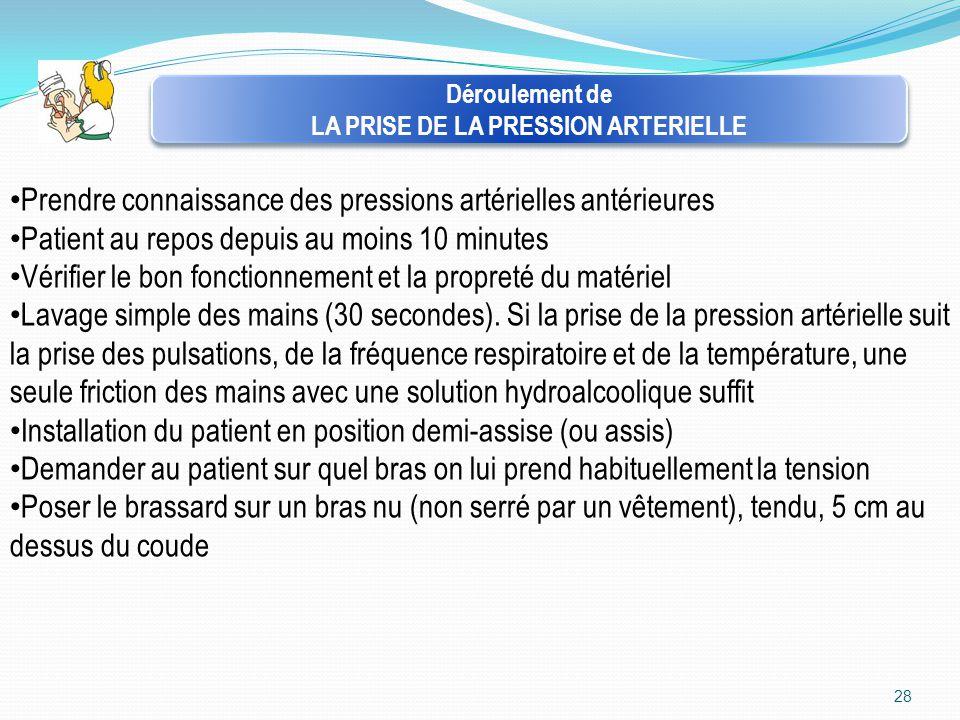 28 Déroulement de LA PRISE DE LA PRESSION ARTERIELLE Déroulement de LA PRISE DE LA PRESSION ARTERIELLE Prendre connaissance des pressions artérielles